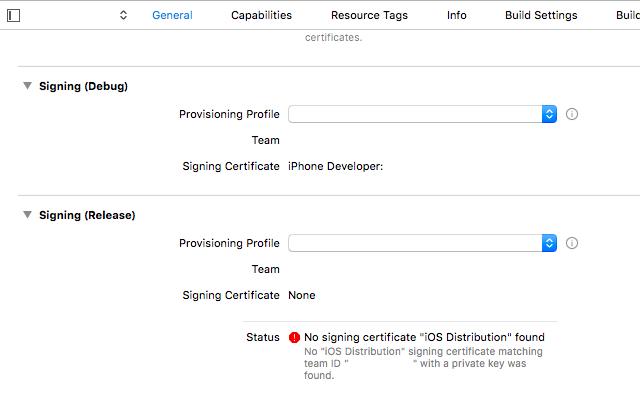 Xcodeでプロビジョニング選択時に、No signing certificate
