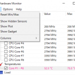 CPU温度測定ソフトウェア(Core Temp / Open Hardware Monitor)