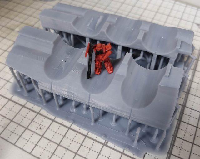 3Dプリンター 1/1200 ムサイ改型ワルキューレ 製作日誌(13日目)艦橋下部の印刷