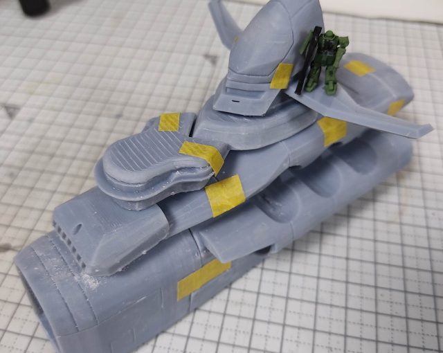 3Dプリンター 1/1200 ムサイ改型ワルキューレ 製作日誌(15日目)艦橋部分の組立て