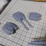 3Dプリンター 1/1200 ムサイ改型ワルキューレ 製作日誌(17日目)主砲部分の組立て