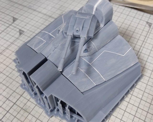 3Dプリンター 1/1200 ムサイ改型ワルキューレ 製作日誌(21日目)船首部分の組立て(中編)