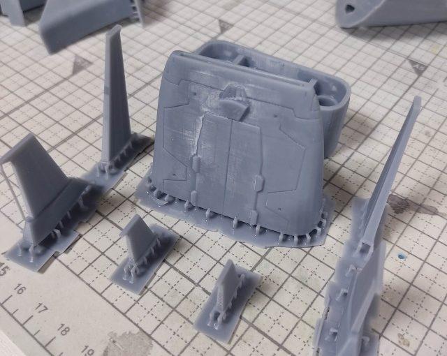 3Dプリンター 1/1200 ムサイ改型ワルキューレ 製作日誌(24日目)コムサイの修正
