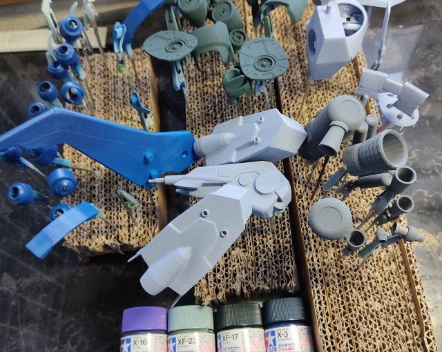 3Dプリンター 1/144 モビルダイバー ゼーゴック製作日誌(17日目)アクリル塗料で上塗り