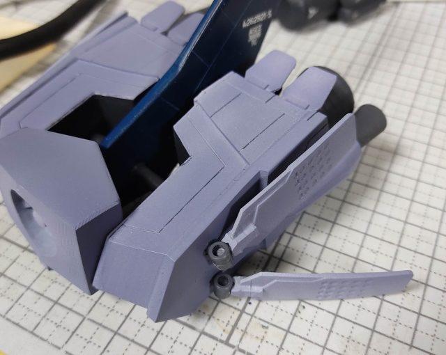 3Dプリンター 1/144 モビルダイバー ゼーゴック製作日誌(22日目)ラダー(方向舵)の取付け