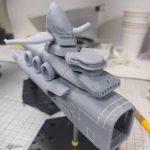3Dプリンター 1/1200 ムサイ改型ワルキューレ 製作日誌(25日目)艦橋部分の組立て