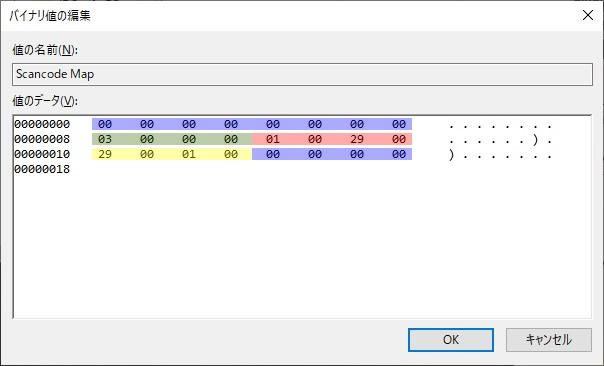 Windows10でソフトウエアをインストールせずにキーボードのキーを入れ替える方法(Keycode Map)