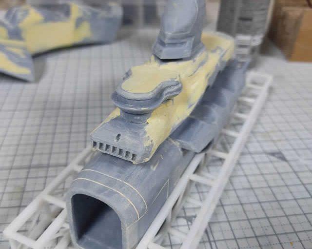 3Dプリンター ムサイ改型ワルキューレ 製作日誌(32日目)艦橋のパテ盛り