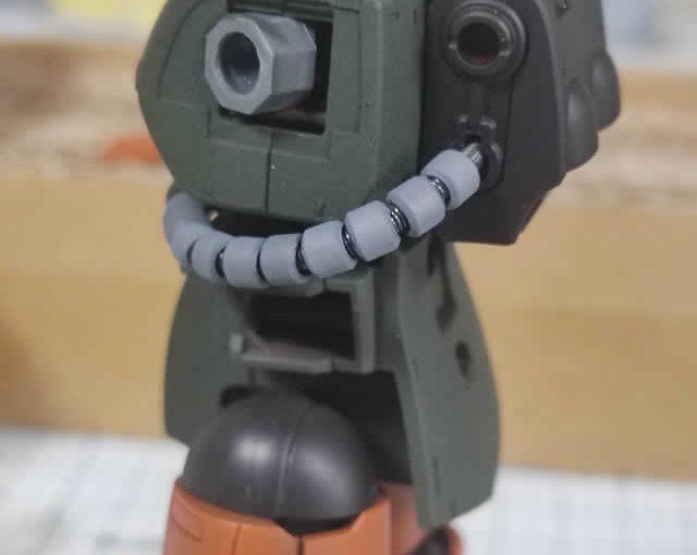 1/144 HG改造 MS-06F ガルマ・ザビ専用ザク製作日誌(13日目)上半身の組立て