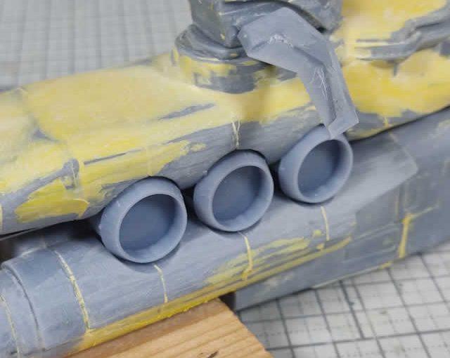 3Dプリンター ムサイ改型ワルキューレ 製作日誌(38日目)艦橋部分のダクトパーツの固定