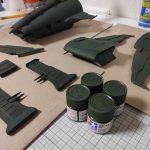 3Dプリンター ムサイ改型ワルキューレ 製作日誌(56日目)船首と機関部分の上塗り塗装