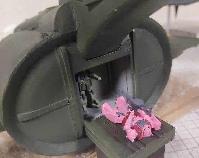 3Dプリンター ムサイ改型ワルキューレ 製作日誌(60日目)モビルスーツハッチのスミ入れ